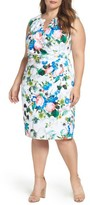 Adrianna Papell Plus Size Women's Side Pleat Floral Sheath Dress
