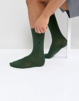 Polo Ralph Lauren Ribbed Socks Egyptian Cotton In Dark Green
