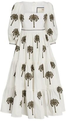 Agua Bendita Embroidered Palm Miel Dress