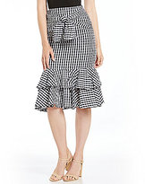 Gianni Bini Beil Tie Front Tiered Ruffle Midi Skirt