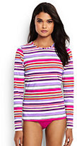 Lands' End Women's Petite Long Sleeve Swim Tee Rash Guard-Light Fuchsia Maui Stripe