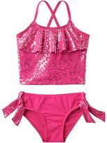 Pink Platinum Girls 4-6x Cheetah Print Tankini & Scoop Bottoms Swimsuit Set