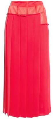 Victoria Beckham Paneled Organza And Georgette Midi Skirt