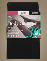 Marks and Spencer 3 Pair Pack 30 Denier Body SensorTM Opaque Tights