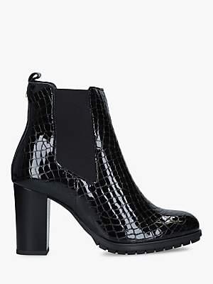 Carvela Comfort Royal Block Heel Croc Leather Ankle Boots, Black