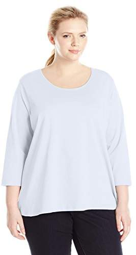 Fresh Women's Plus-Size Basic Long Sleeve Scoop Neck Top