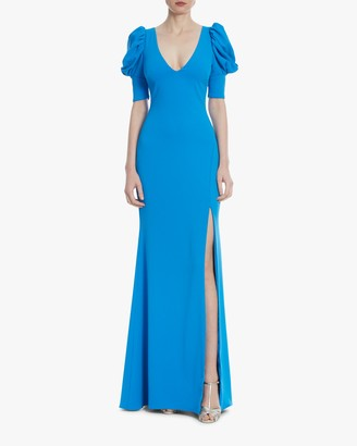 Badgley Mischka Caribbean Blue Ruched-Sleeve Gown
