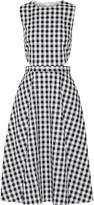 Tanya Taylor Monica cutout gingham cotton midi dress
