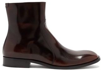 Maison Margiela Patent Cordovan-leather Ankle Boots - Black Brown