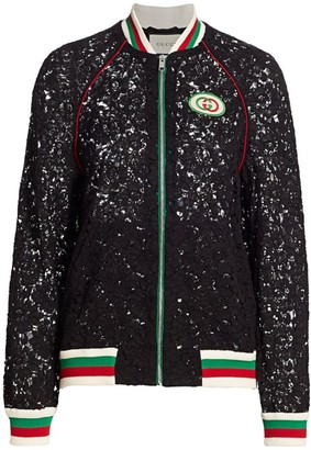 Gucci Floral Lace Striped Trim Track Jacket