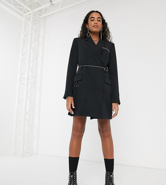 Collusion blazer dress with chain belt and strapping detail