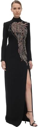 Sandra Mansour Long Embellished Crepe Dress