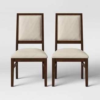 Threshold 2pk Damestown Square Back Wood & Upholstered Dining Chair Natural - ThresholdTM