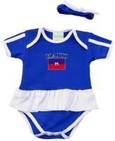 PAM baby girl blue Haiti soccer Ruffled bodysuit