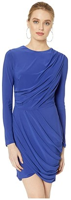 ASTR the Label Long Sleeve Draped Dress (Cobalt) Women's Dress