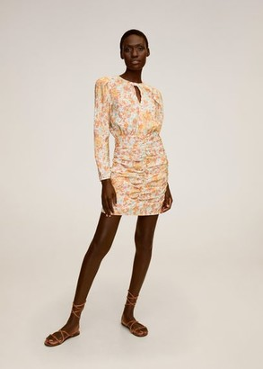 MANGO Ruched floral dress pink - 2 - Women