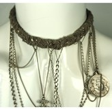 Chanel excellent (EX Silver Charm Chains Necklace