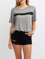 Charlotte Russe Lace-Up Detail Tee