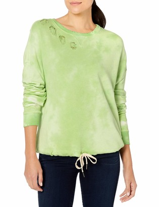 n:philanthropy n: PHILANTHROPY Women's Olympia Distressed Casual Long Sleeve Crew Neck Pullover Sweatshirt