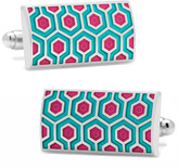 Ox and Bull Trading Co. Teal and Pink Honeycomb Cufflinks