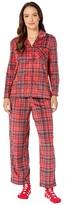 Karen Neuburger Petite Novelties Minky Long Sleeve Girlfriend PJ w/ Sock (Plaid Ski Patrol) Women's Pajama Sets