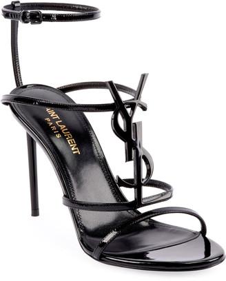 Saint Laurent Cassandre Monogram Patent Sandals