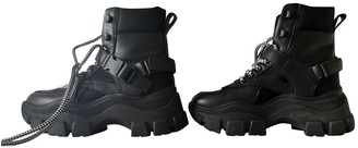 Prada Block Combat Black Leather Ankle boots