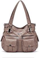 21-K Barcelona Soft Washed Leather Double Zipper Multi Pocket Shoulder Bag