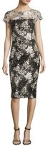 David Meister Short-Sleeve Floral Mesh Sheath Dress, Multicolor