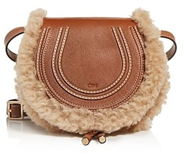 Chloé Marcie Small Leather & Shearling Crossbody