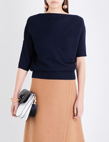 J.W.Anderson Draped high-neck ribbed-knit merino wool top