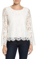 Vince Camuto Petite Women's Lace Bell Sleeve Blouse