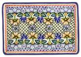 Rectangular 13 Inch Floral Talavera Ceramic Multicolor Plate, 'Blossoming Symmetry'