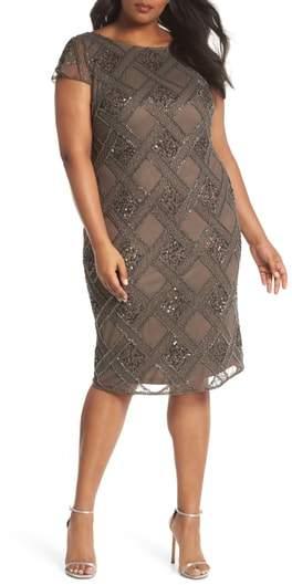 Adrianna Papell Beaded Cap Sleeve Sheath Dress