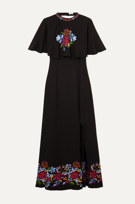 Rixo Iona Cape-effect Embroidered Crepe Midi Dress