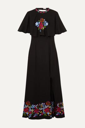 Rixo Iona Cape-effect Embroidered Crepe Midi Dress - Black
