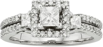 Princess-Cut IGL Certified Diamond Frame Engagement Ring in 14k Gold Two Tone (1 ct. T.W.)
