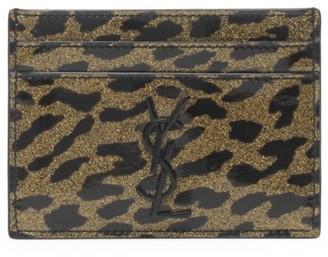 Saint Laurent Monogram Leopard-Print Patent Leather Card Case