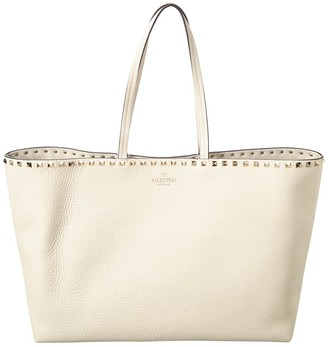 Valentino Rockstud Large Grainy Leather Shopper Tote