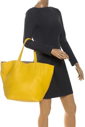 Celine Yellow Leather Medium Cabas Phantom Shopper Tote