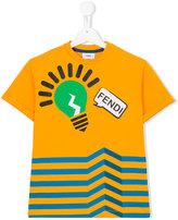 Fendi lightbulb striped T-shirt - kids - Cotton/Spandex/Elastane - 2 yrs