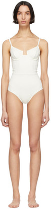 Off-White Solid and Striped The Veronica One-Piece Swimsuit