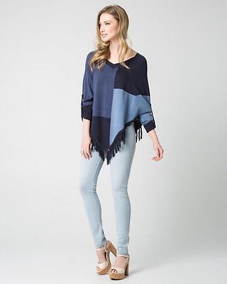 Le Château Patchwork Cotton Blend Poncho Sweater