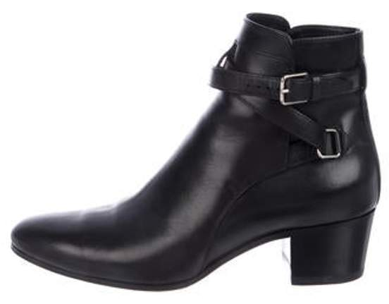 Saint Laurent Leather Round-Toe Ankle Boots Black Leather Round-Toe Ankle Boots