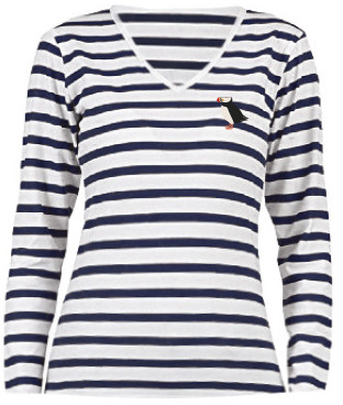 Creoate - Puffin Long Sleeves Stripes T-shirt - cotton | Small | navy blue - Navy blue