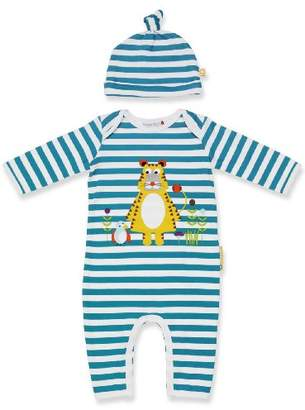 Olive&Moss TIG-PS1 Onesie Tiger Tarquin 0-6 Months Turquoise/White