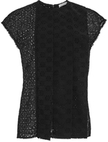 Nina Ricci Black Cotton Broderie Anglaise Lace Top
