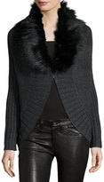 Three Dots Sophie Cape Cardigan w/ Removable Faux-Fur, Charcoal