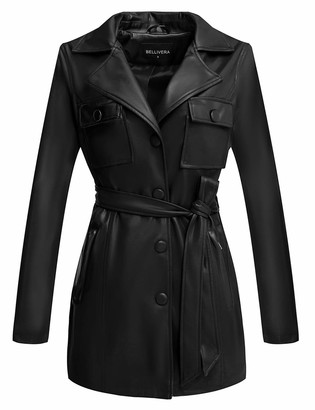 Bellivera Women's Faux Leather Jacket?Long Casual Coat for Spring and Autumn Black Medium