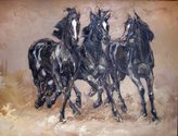 Various Artists Three Horses hand-painted palette knife original oil painting,Modern Painting,Living Room Wall Art Decorations,Office Artwork (36 x 48 in.)